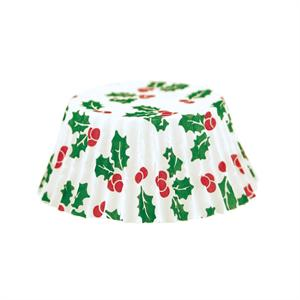 Baking Cups - Christmas holly print