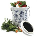 Blue Floral Ceramic Compost Keeper